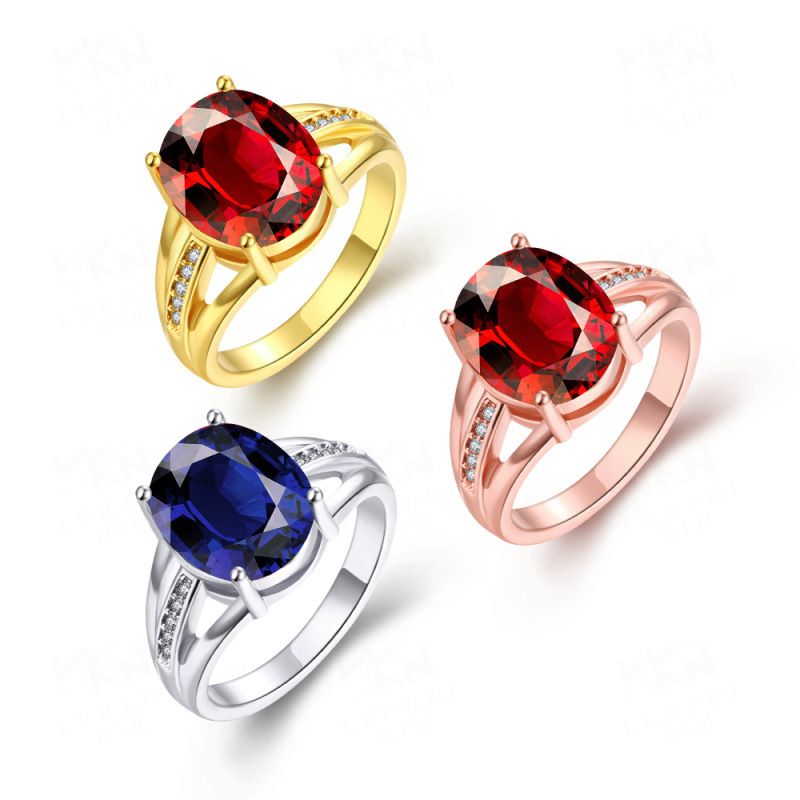 Gold Plated with Blue/Red Oval Shaped Wedding Rings Jewelry for Women Girls Party
