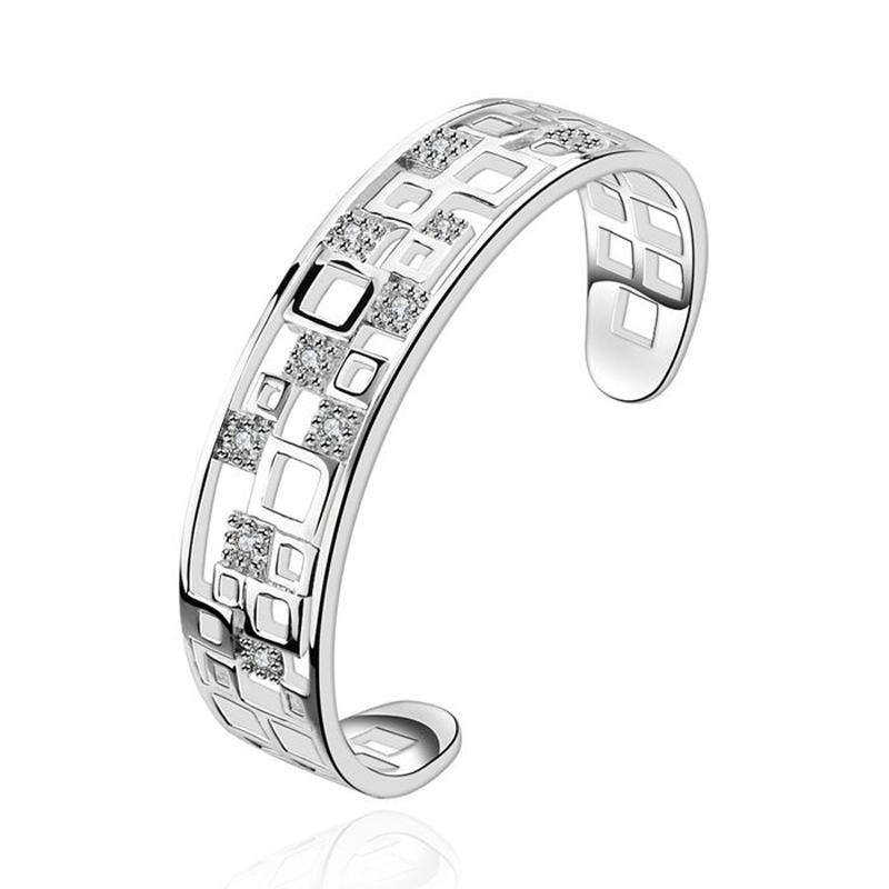 Bangle Silver Plated Bangle Silver Inlaid Zircon Bangle Women's Trendy Jewelry