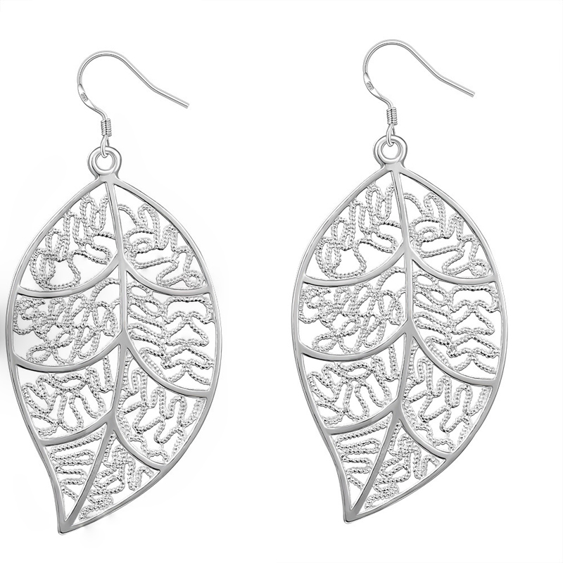 Silver Plated Leaf Drop Earrings for Women Fashion Hollow Party Jewelry High Quality Dangle Earring