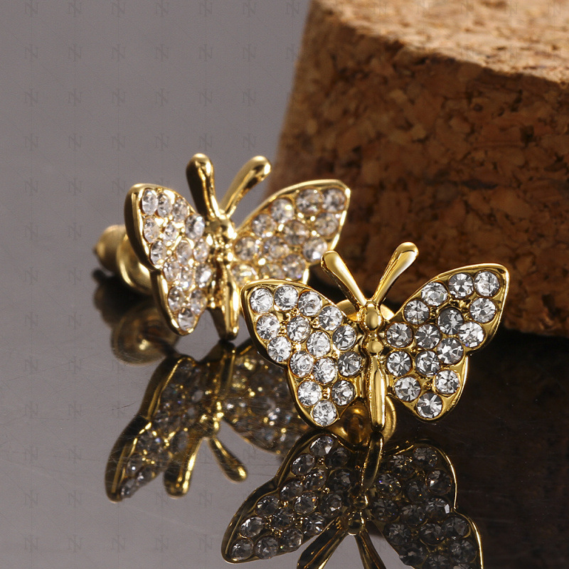 925 Sterling Silver Butterfly Gold plated Ring for Girl