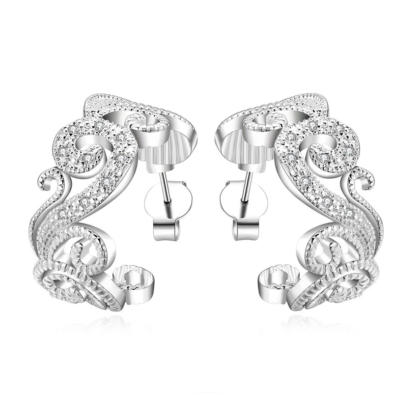 Fashion Hollowout silver Plated Shining Crystal Stud Earring For Women E560