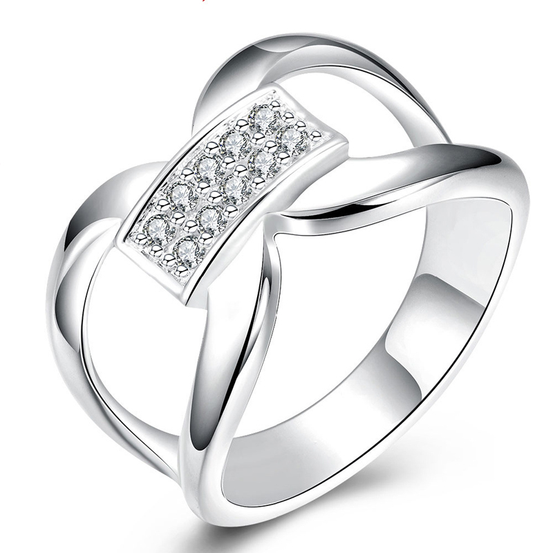 Silver Plated Rings Jewelry Exquisite Creative Docking CZ Diamond Ring