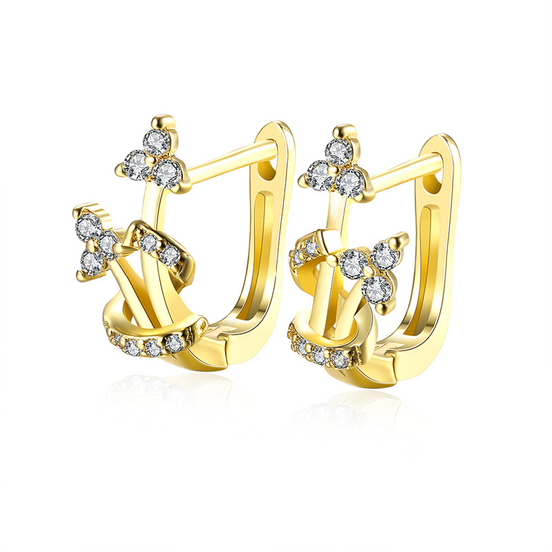 Romantic Zircon Heart Dual Gold Ear Cuff Clip On Earrings For Women Trendy Clip Earring B030