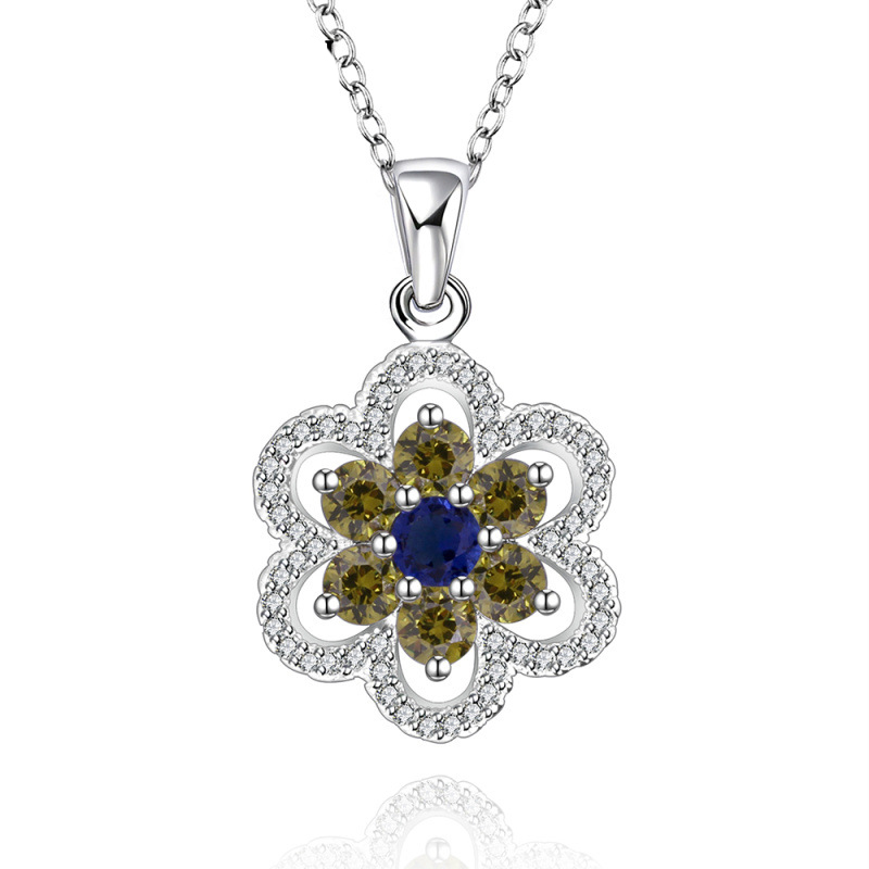 Silver Plated Blue Mixed Yellow Lots Style Zircon Flower Chain /Necklaces for Women Charm Jewelry