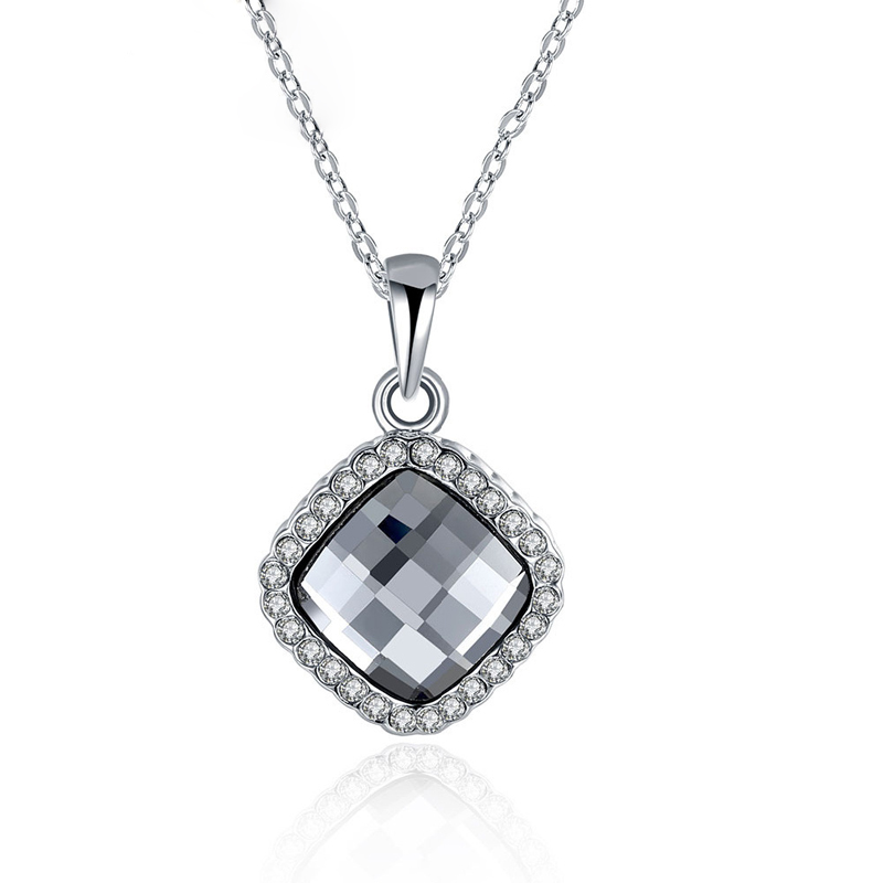 Classic Black Crystal 925 Sterling Silver Plated Fashion Jewelry Nickel Free Pendant Austria Crystal Elements