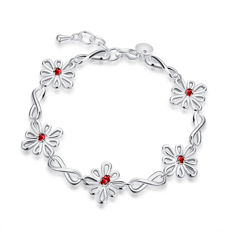 Silver Plated Charm Bracelets Bangles Romantic Wedding Party Vintage Fashion Jewelry