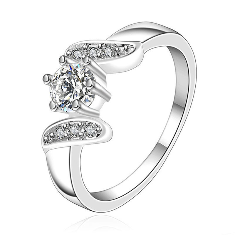 New Silver Plated Wedding Rings For Women Simulated Diamond