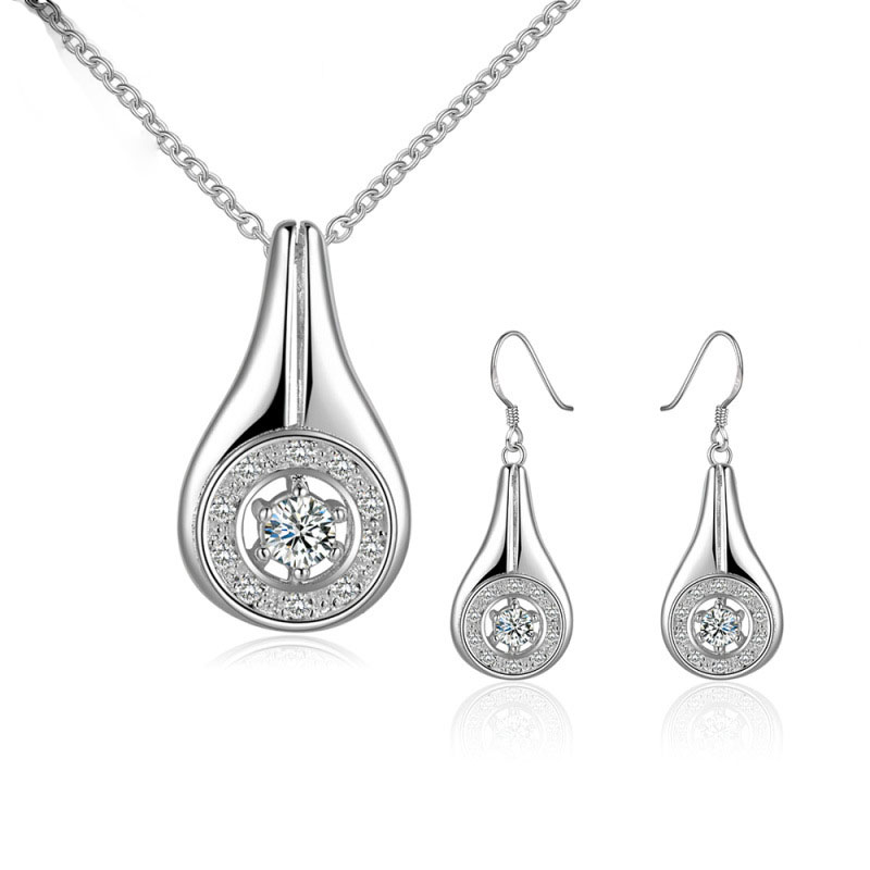 Cute Hollow Latest Siliver Plated Round Drop-shaped Jewelry Sets Popular Fashion Popular Jewelry Sets