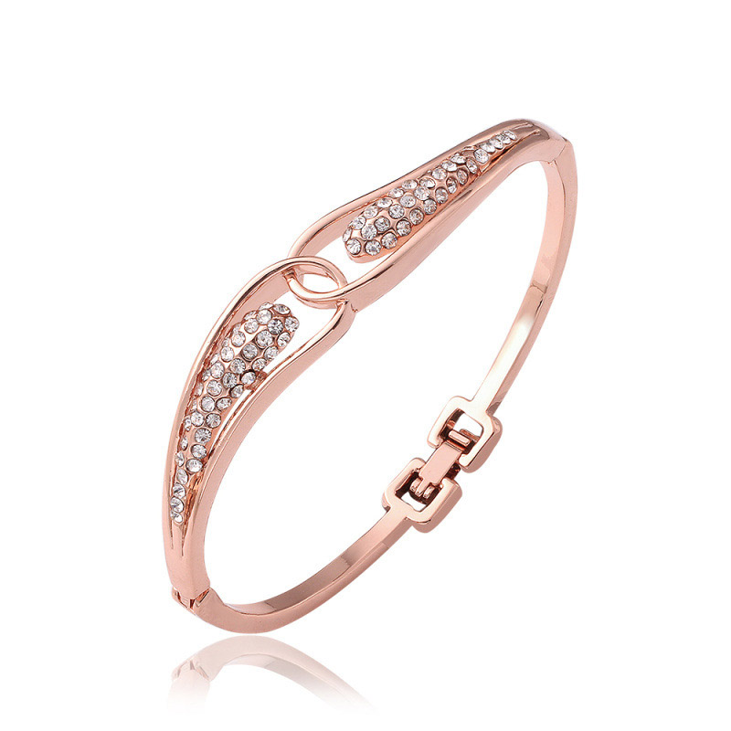 Crystal Rhinestone Rose Gold Plated Bracelet Cuff Love Bracelets & Bangles For Women