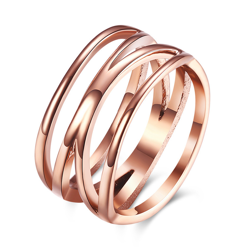 Rose Gold Plated Hollow 316L Stainless Steel Rings For Women 10mm Band Wedding Engagement Finger Ring TGR120