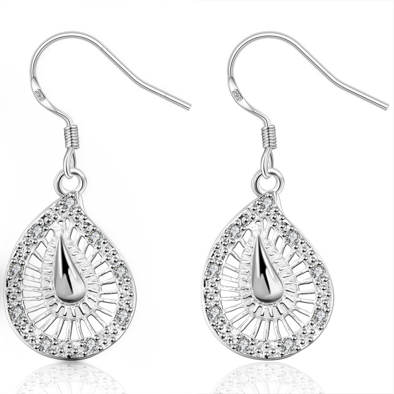 Silver Plated Waterdrop Shaped With Carve Dangle Earrings For Women