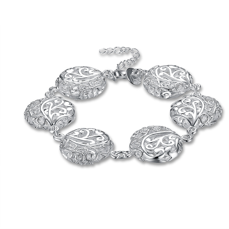925 Sterling Silver Fashion Jewelry Hollow Flat Flower Bracelet