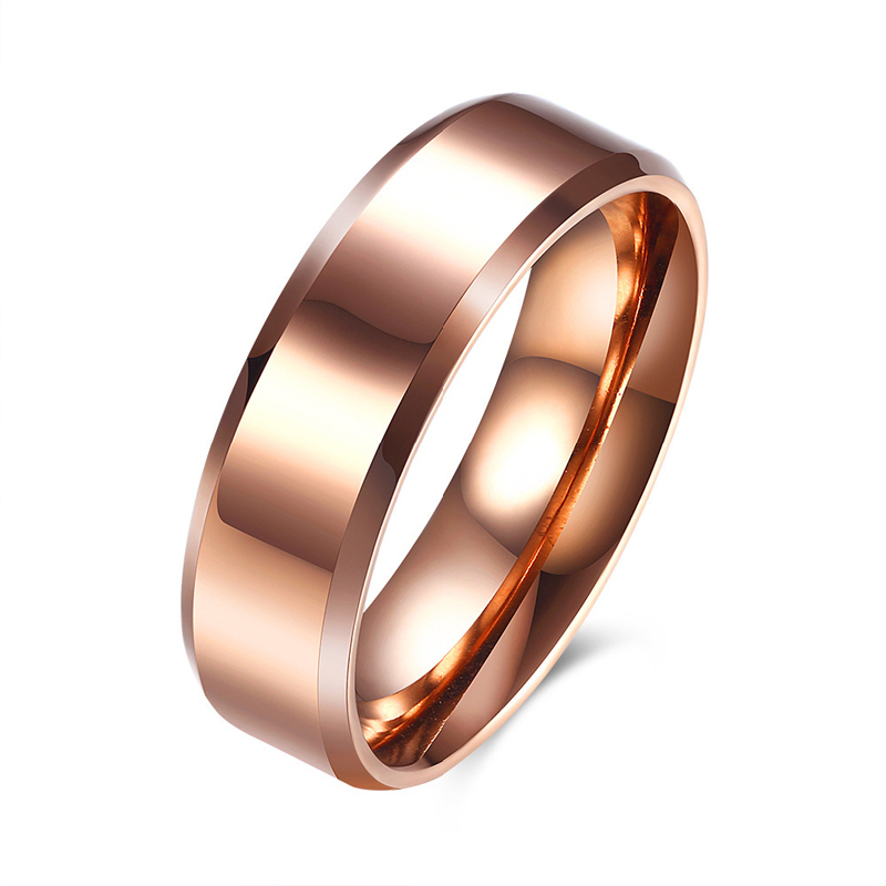 Rose Gold Plated Wedding Rings for Men Stainless Steel Ring Fashion Jewelry TGR075