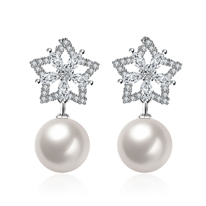 Hot Pearl Earring Sterling Sliver Plated Star Design Wedding Earrings Shining Austrian Crystal Earrings
