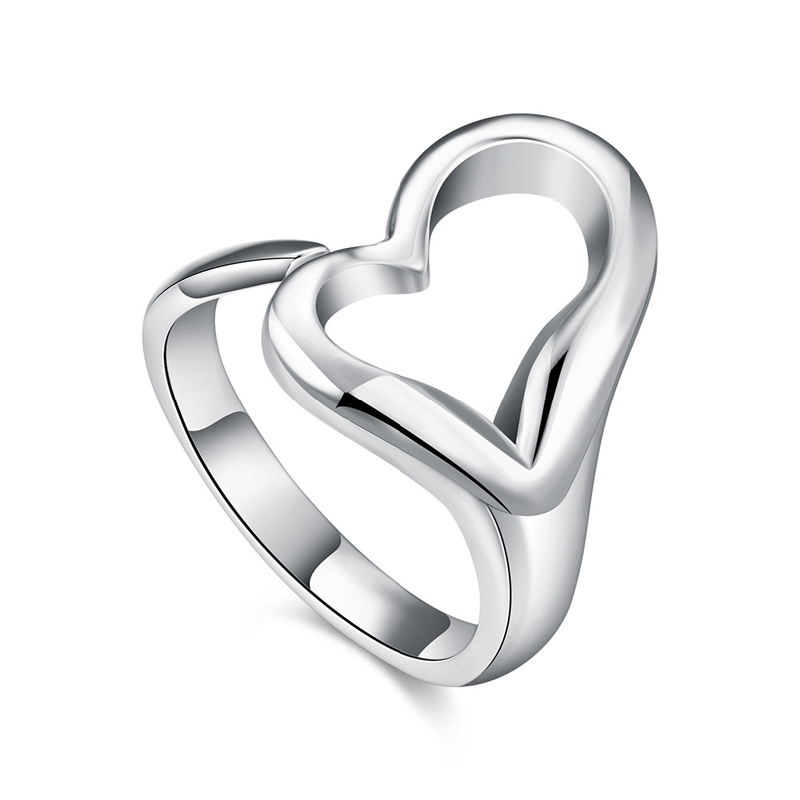 Open Heart Ring Promotion Romantic Silver Plated Smooth Love Heart Shaped Design Finger Rings R009