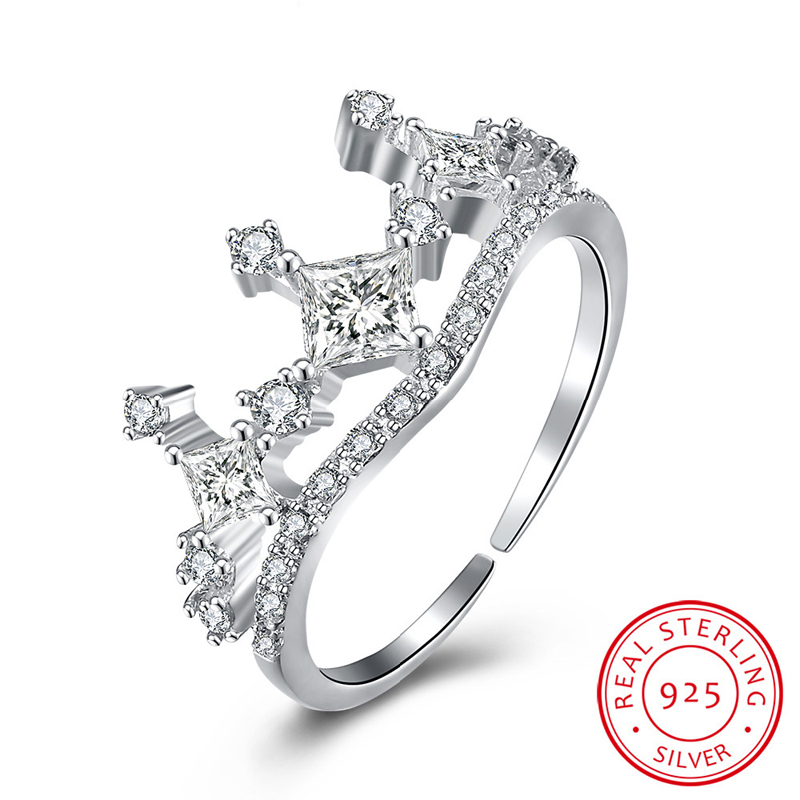 The Crown Open-End Ring Sterling-Silver Rings Silver Woman Jewelry European Style Ring Silver Jewelry
