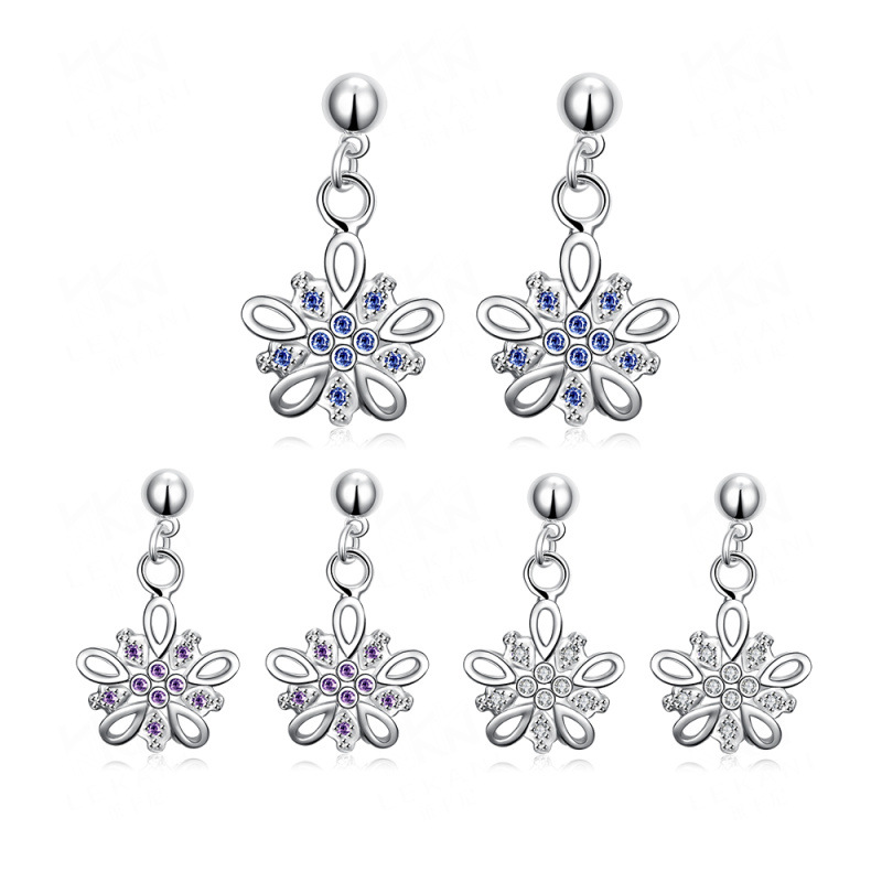 3 Color Optional Silver plated Fashion Silver Elegant Design Drop Earring for Women
