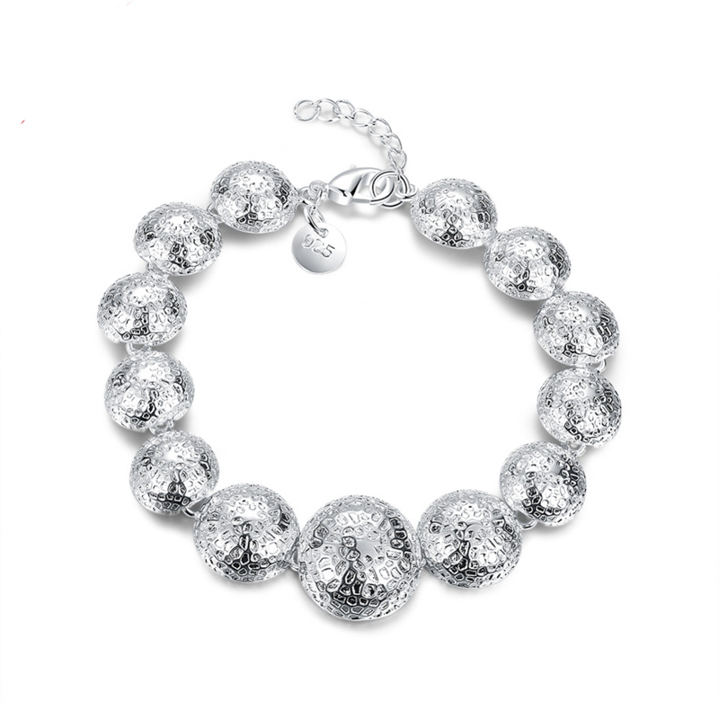 Women Silver Plated Charm Bracelets Bangles for Women