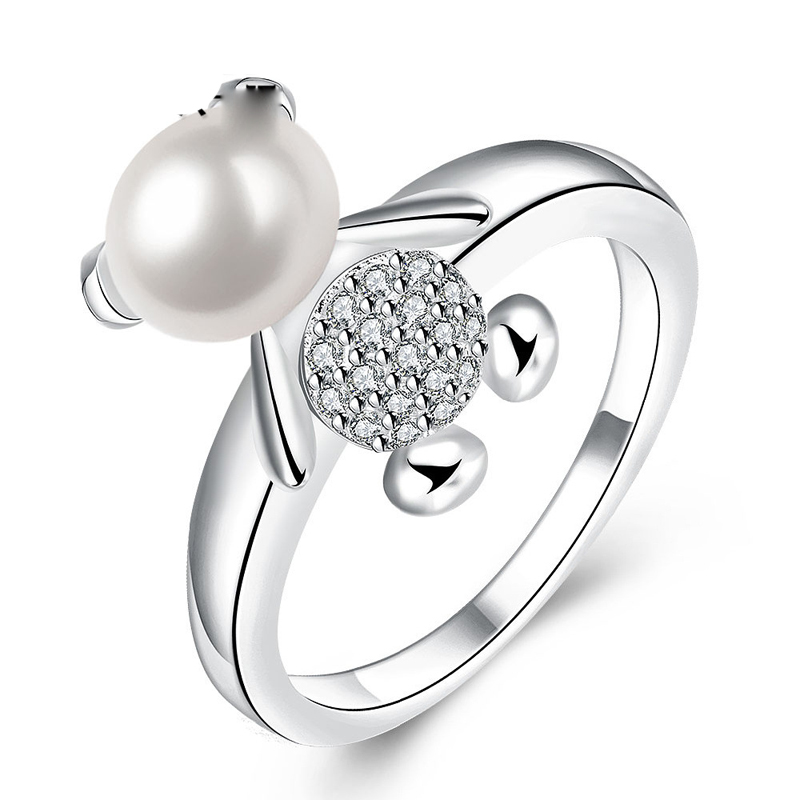 Cute Bear Ring For Women Round White Simulated Pearl Austrian Crystal Zircon Party Jewellery