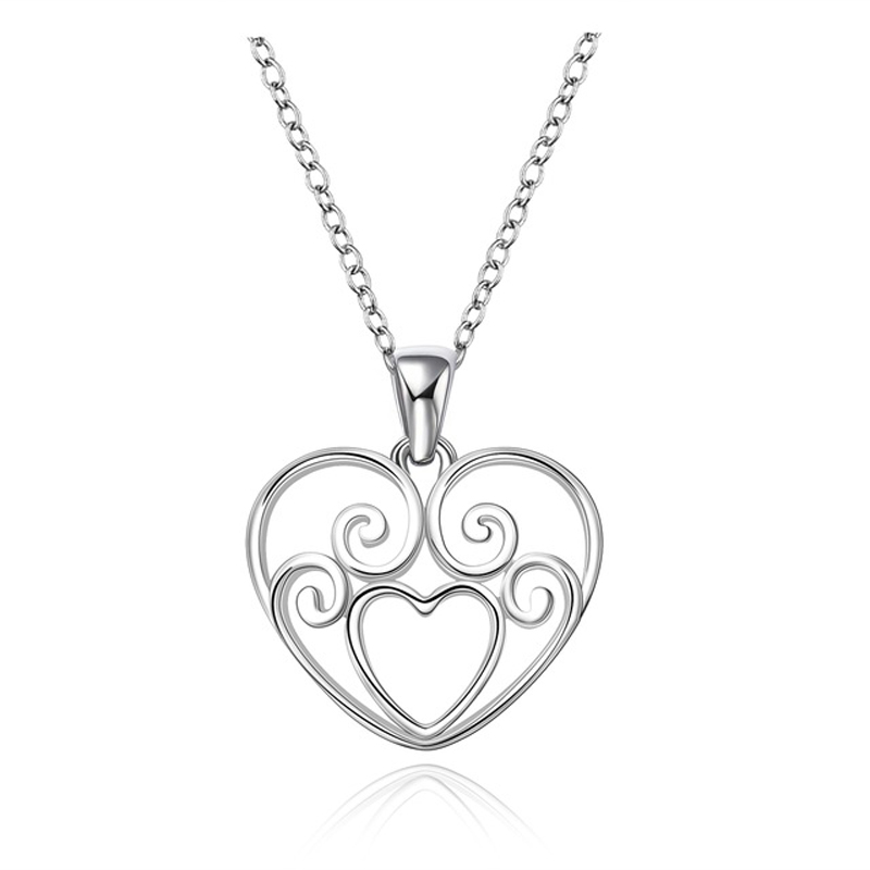 Silver Color Europe&American Stylish Heart shaped Zircon Pendant Necklace