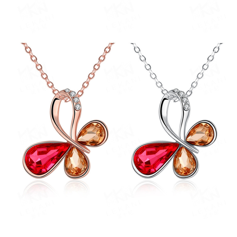 Animal Design Hollow Butterfly Gold Plated with Red&Champagne Rhinestones Pendant Necklaces AKN025