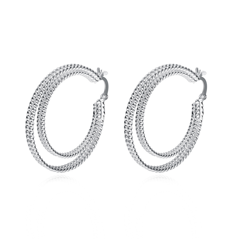 Funky Earrings 4*3.6 CM Trendy Double Layer Twisted Round Silver Plated Hoop Earring