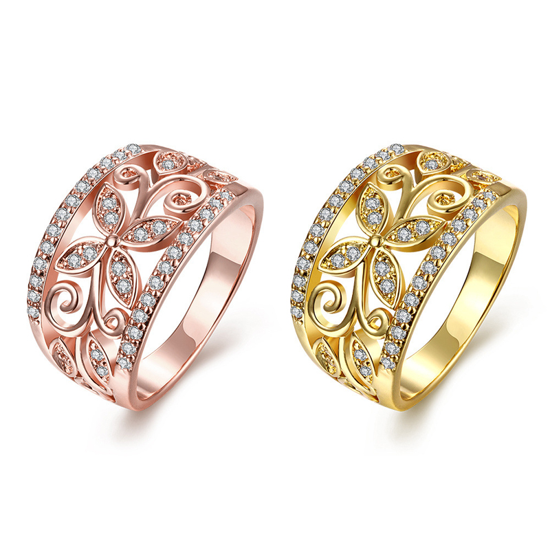 Gold Plated Rings For Women Hollowed Out Four-Leaf Clover Brilliant Cut CZ Diamond Wedding Ring KZCR098