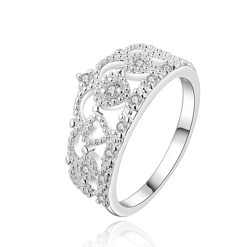 Silver Plated Ring Silver Special Design Trendy Ring Inlaid Crystal Women's Jewelry
