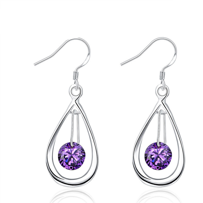 Classic Silver Plated Hollow Waterdrop with Purple Crystal Dangle Earrings for Women