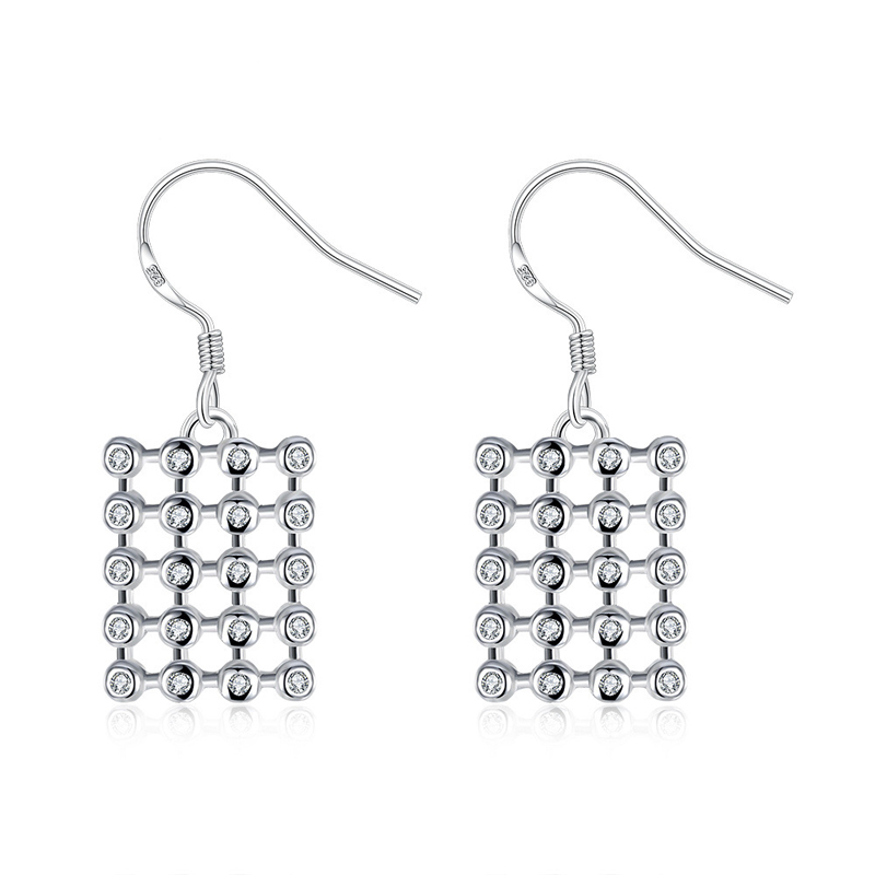 Zircon Earrings Fashion Jewelry 925 Silver Earrings Silver Square Charm Earrings