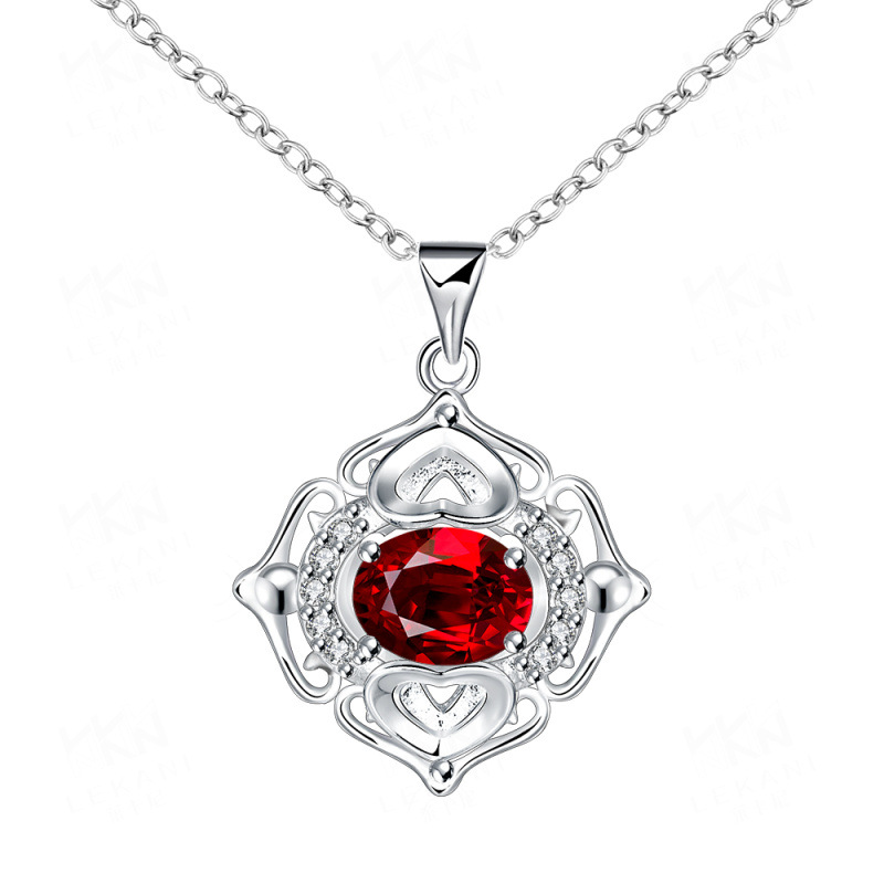 Elegant Silver-Plated with Luxury Crystal Pendant Necklaces Jewelry for Women Party SPN061