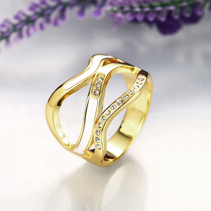 Strange Design Hollow Geometric Inlaid Cubic Zirconia Gold Plated Rings Special Jewelry for Women