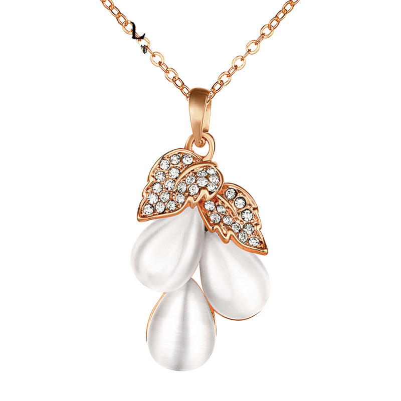 Gold Plated Water Drop Pendant Necklace Romantic Crystal Leaf Necklace Beautiful Opal Jewelry Accessories