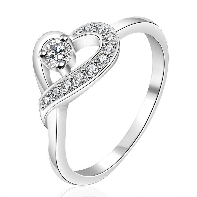 Classic Heart Ring With CZ Stone 925 Sterling Silver Rings Engagement Wedding Ring R150