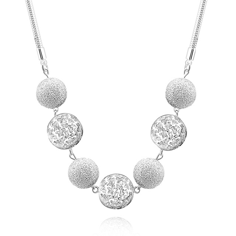 Round Ball Bright Choker Necklace Collier 925 Silver Sweater Necklace