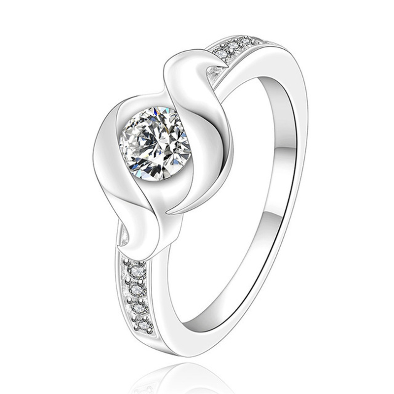 925 Sterling Silver Rings For Women Noble Cubic Zirconia Ring White Crystal Engagement Wedding Ring Jewelry R160