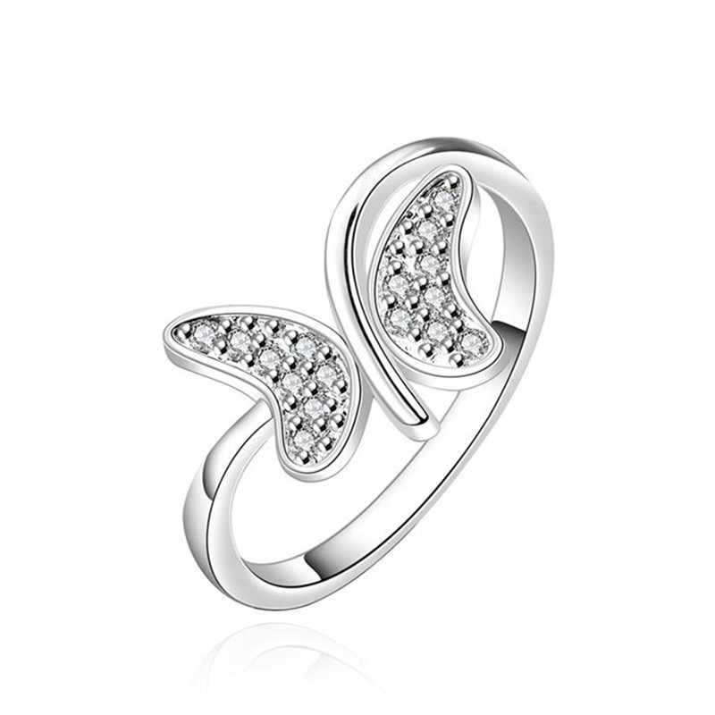 Silver Plated Ring Sliver Inlaid Zircon Ring Women's Trendy Trendy Jewelry