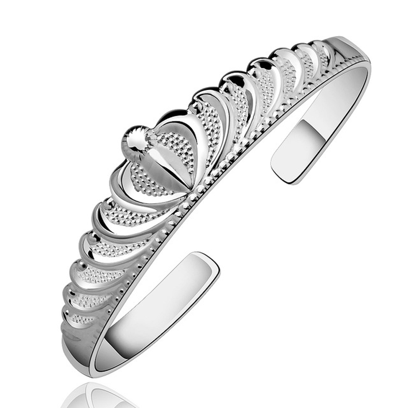 Silver Plated Trendy Elegant Crown Cubic Zircon Cuff Bracelet Bangle for Women Girl