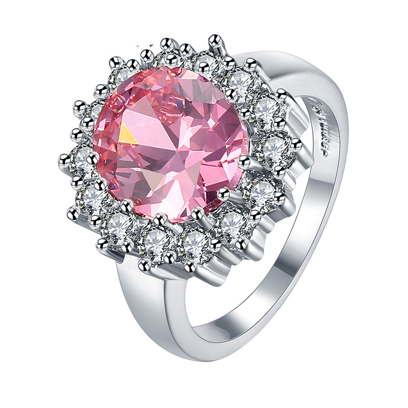 Pink Crystal Plated Ring Healt jewelry Nickel Free Plating Platinum Rhinestone Austrian Crystal Element R030