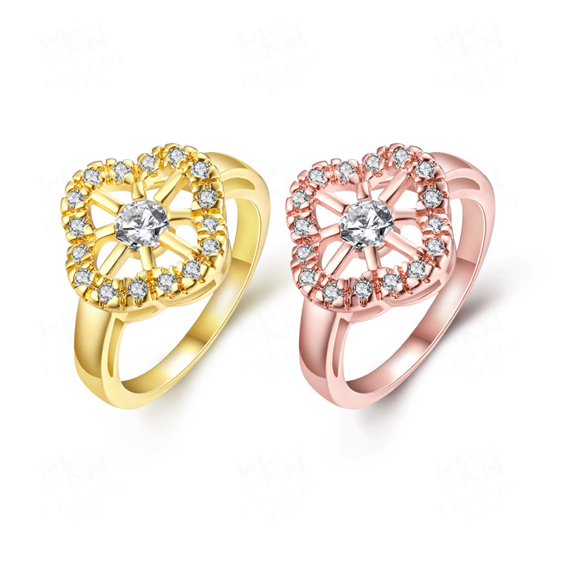 Silver Plated Wedding Large Colored Ring Zircon Sets R339