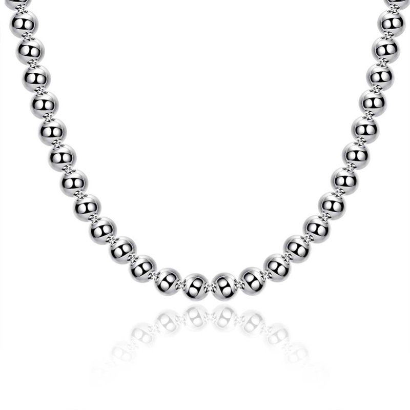 Hollow Ball Design Beads Necklace for Men 925 Sterling Silver