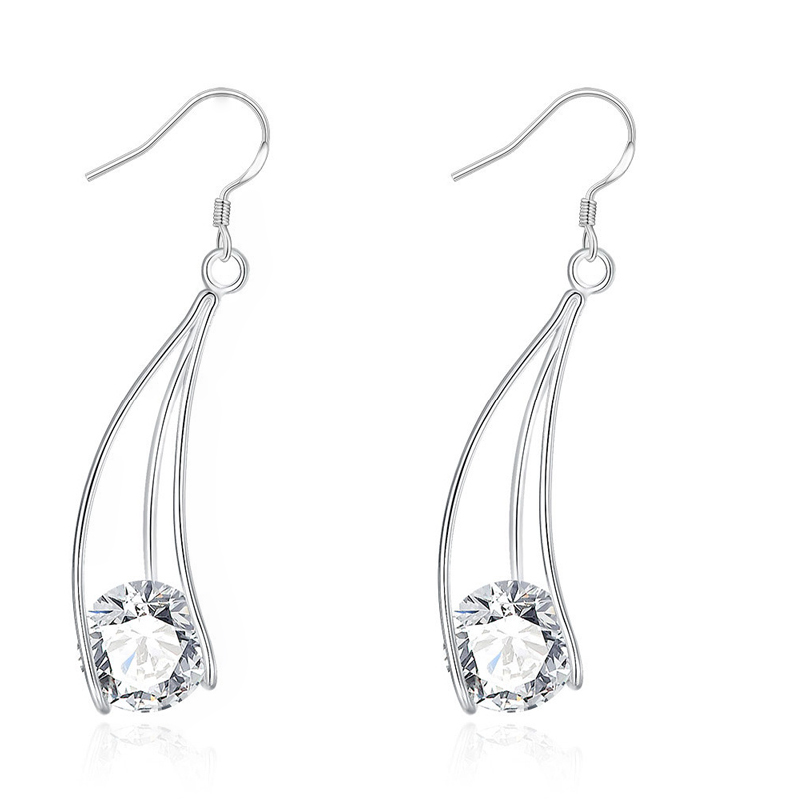 Silver Plated Popular Clear Zircon Dangle Earrings Accessories Christmas Party Vintage Jewelry for Women Girls