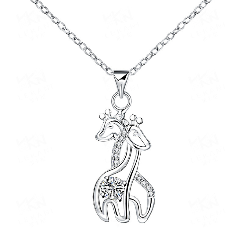 Fashion Elegant Silver Plated Necklace Double Giraffes Pattern Crystal Pendant for Women SPN073