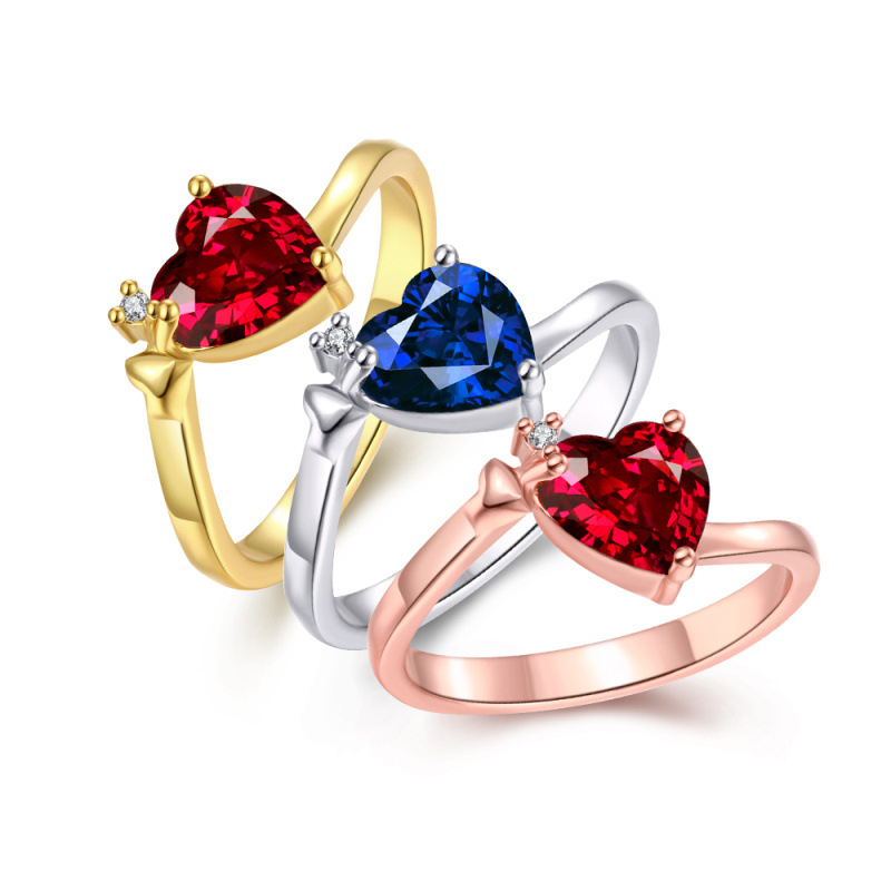 Heart Ring Gold Plated Inlaid Cubic Blue Red Zircon Jewelry Women Wedding Party Ring