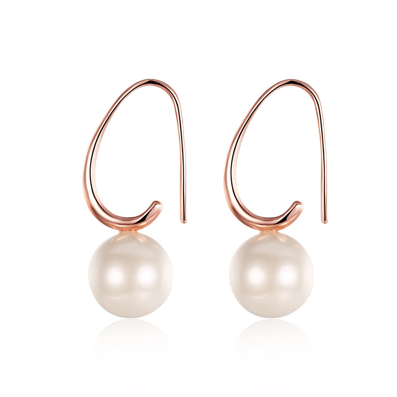 Water Drop Design Dangle Earrings Office Style Rose Gold Plated & Pearl Jewelry