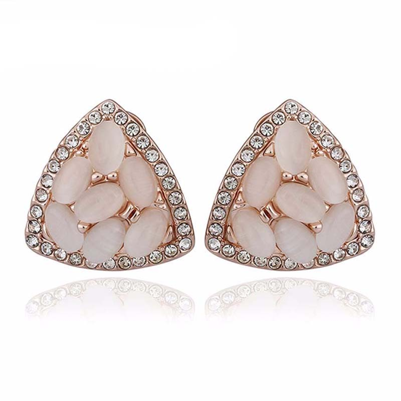 Elegant Gold Plated with CZ Crystal Opal Stone Triangle Stud Earrings