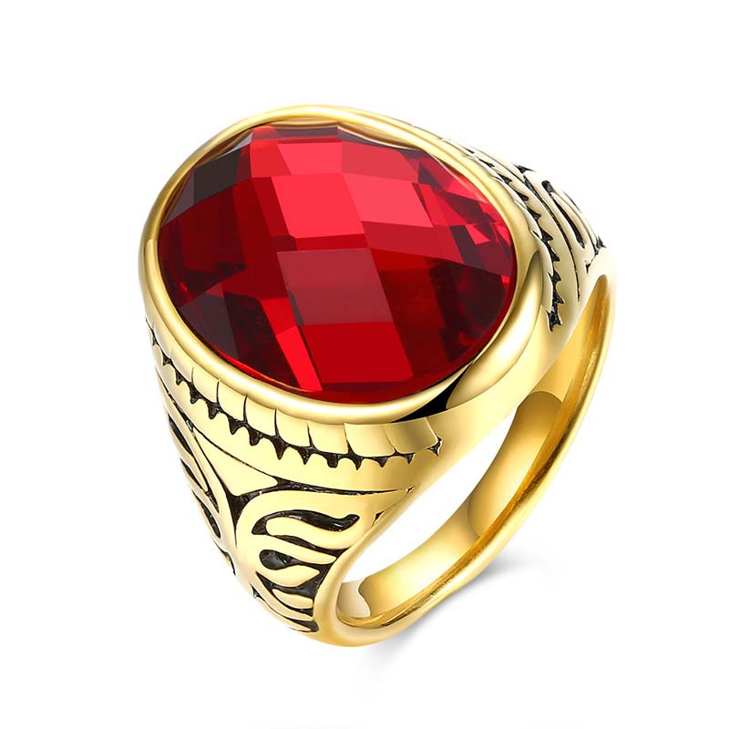 Vintage Style Cool Men Black Natural Stone Ring With Titanium Steel Gold Plated Red Ruby Ring