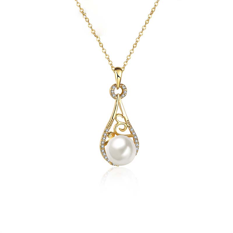 Simulated Pearl Necklaces Fashion Gold Plated Water Drop Shaped Inlaid Cubic Zirconia Pendant Necklace Jewelry