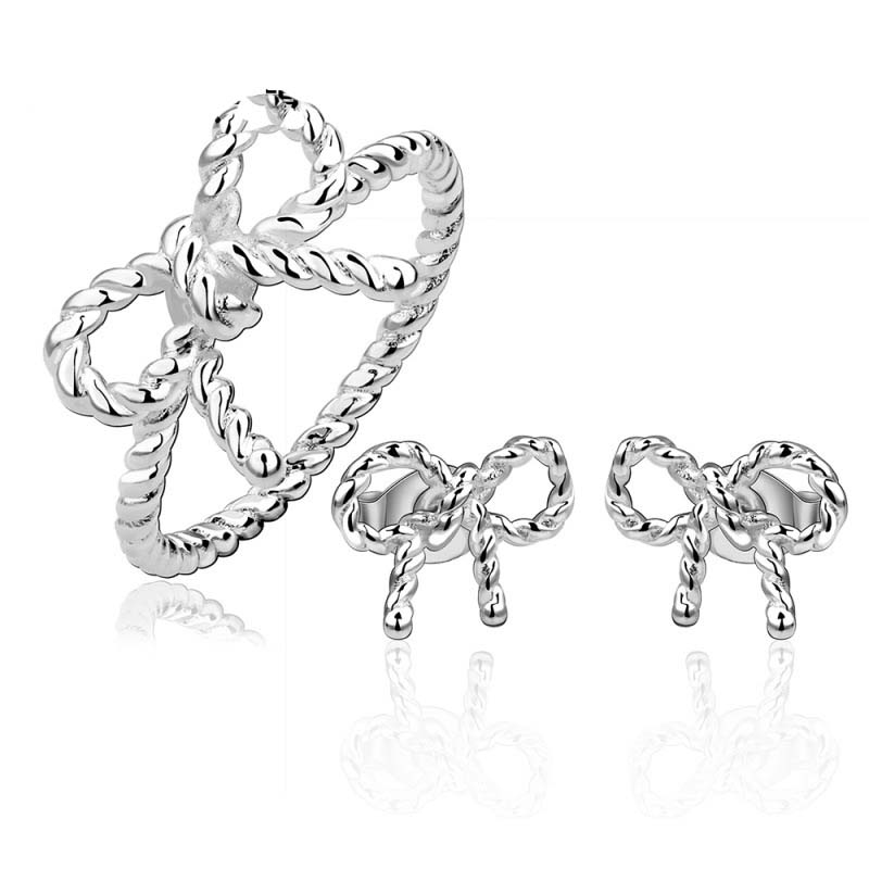 925 Fashion Silver Jewelry Bbowknot Earrings&ring Jewelry Sets for Women