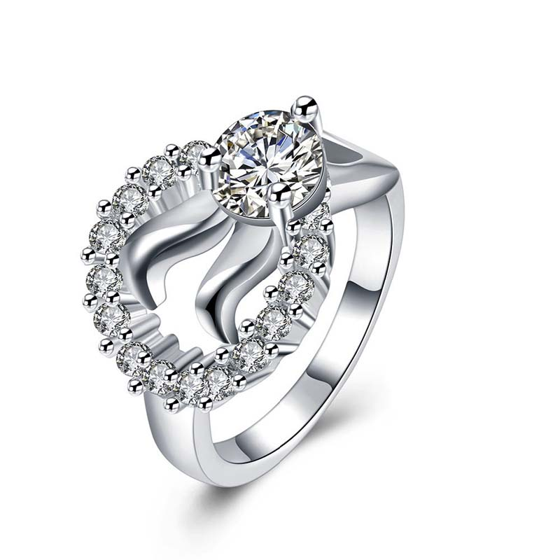 925 Sterling Silver Diamond Inlay Round Ring for Women